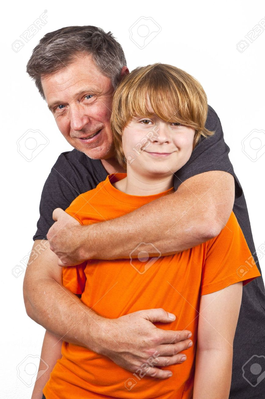 father and happy son hugging Stock Photo - 12245874