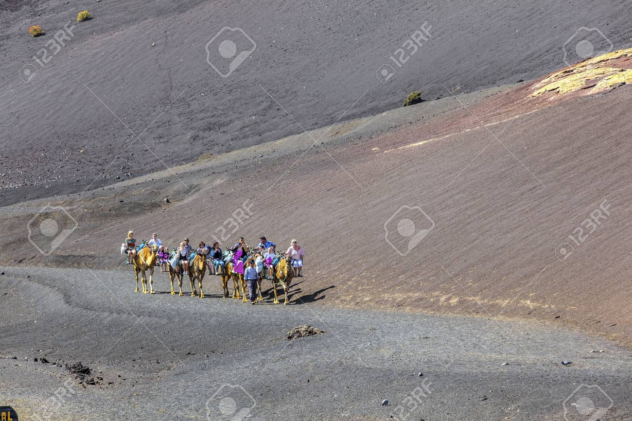 TIMANFAYA NATIONAL PARK, LANZAROTE, SPAIN - APRIL 5: Tourists ride on camels being guided by local people through the famous Timanfaya National Park in April 05,2012. Stock Photo - 13162158