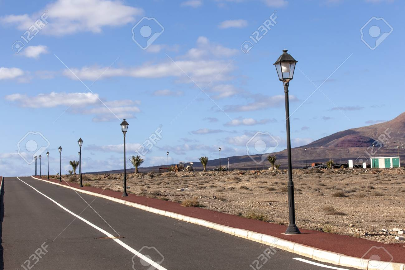new roads for the development area in Lanzarote Stock Photo - 13510832