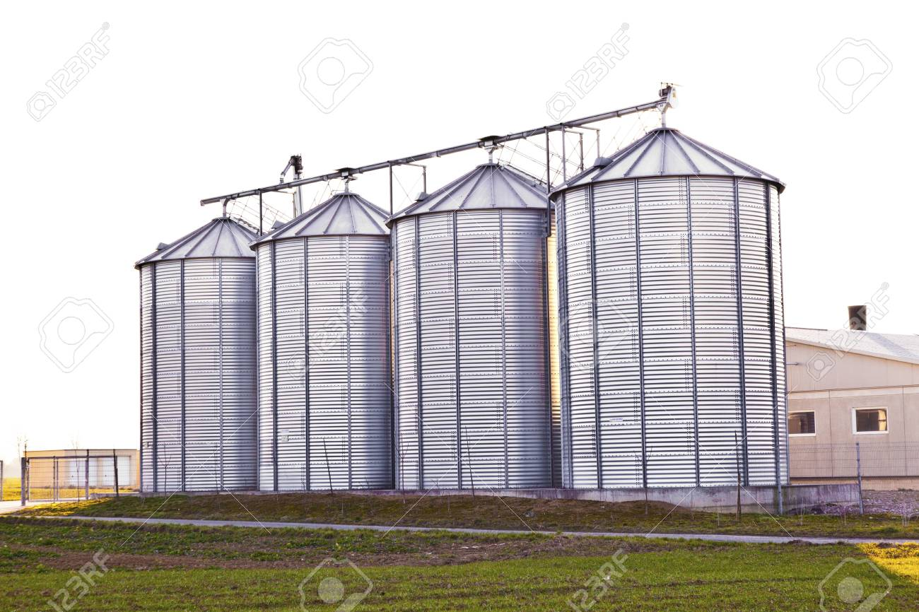 silver silos in the field Stock Photo - 13567589