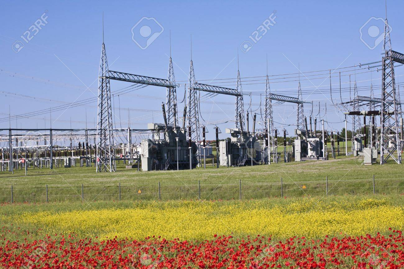 electrical power plant in beautiful colorful meadow stock photo,Wiring diagram,Electrical Plant Near Me