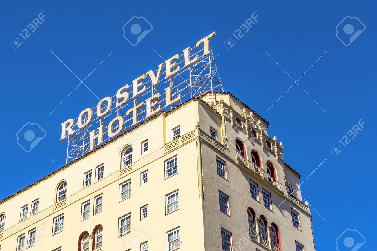 HOLLYWOOD, USA -JUNE 26: facade of famous historic Roosevelt Hotel on June 26,2012 in Hollywood, USA. It  first opened on May 15, 1927. It is now managed by Thompson Hotels. Stock Photo - 14443785