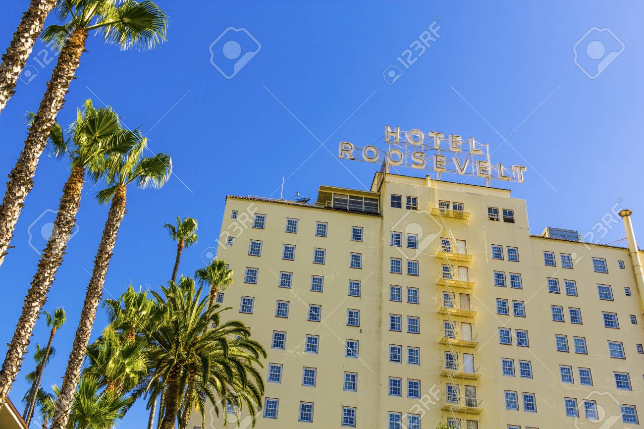HOLLYWOOD, USA -JUNE 26: facade of famous historic Roosevelt Hotel on June 26,2012 in Hollywood, USA. It  first opened on May 15, 1927. It is now managed by Thompson Hotels. Stock Photo - 14443794