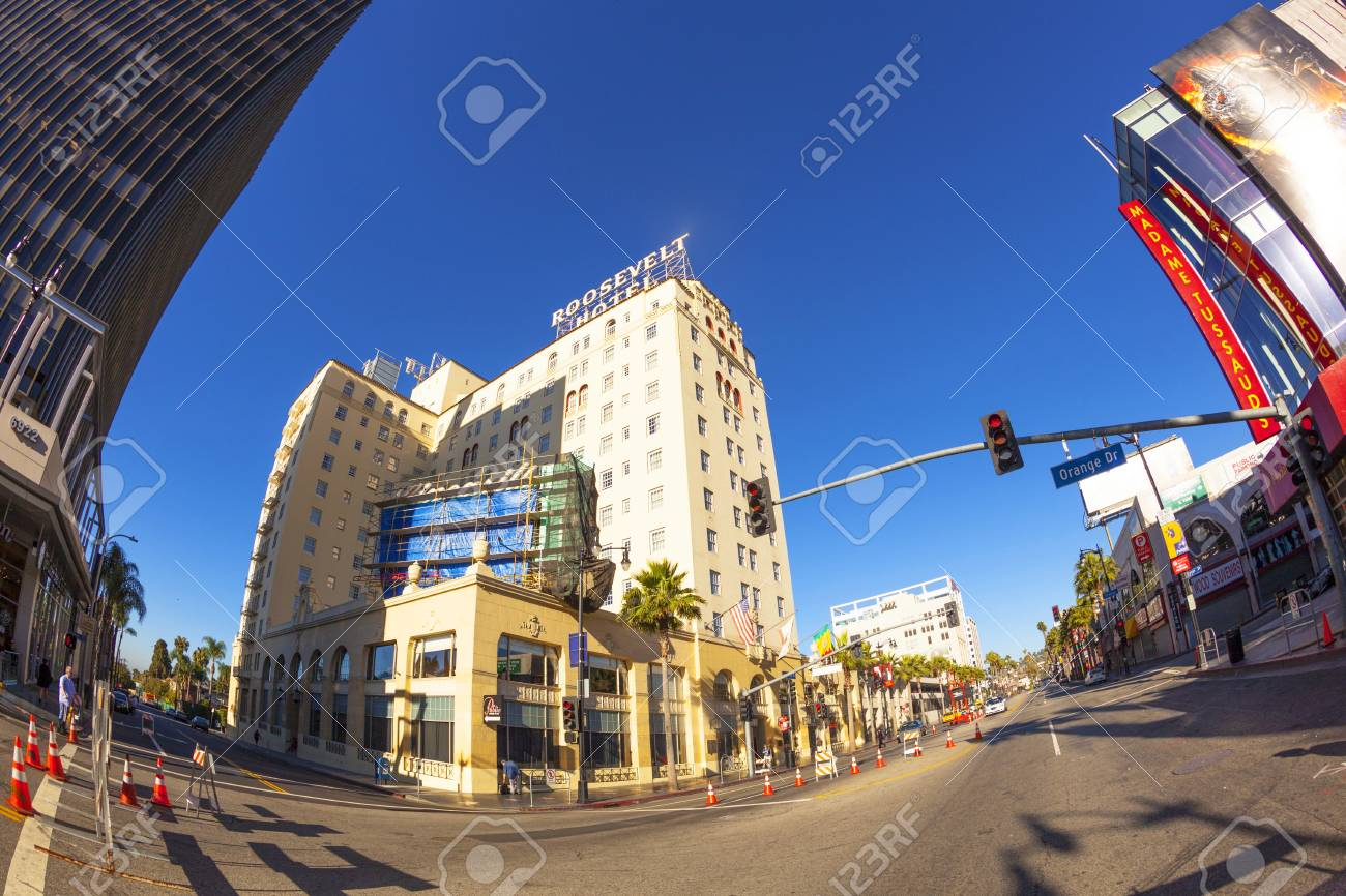 HOLLYWOOD, USA -JUNE 26: facade of famous historic Roosevelt Hotel on June 26,2012 in Hollywood, USA. It  first opened on May 15, 1927. It is now managed by Thompson Hotels. Stock Photo - 14443800