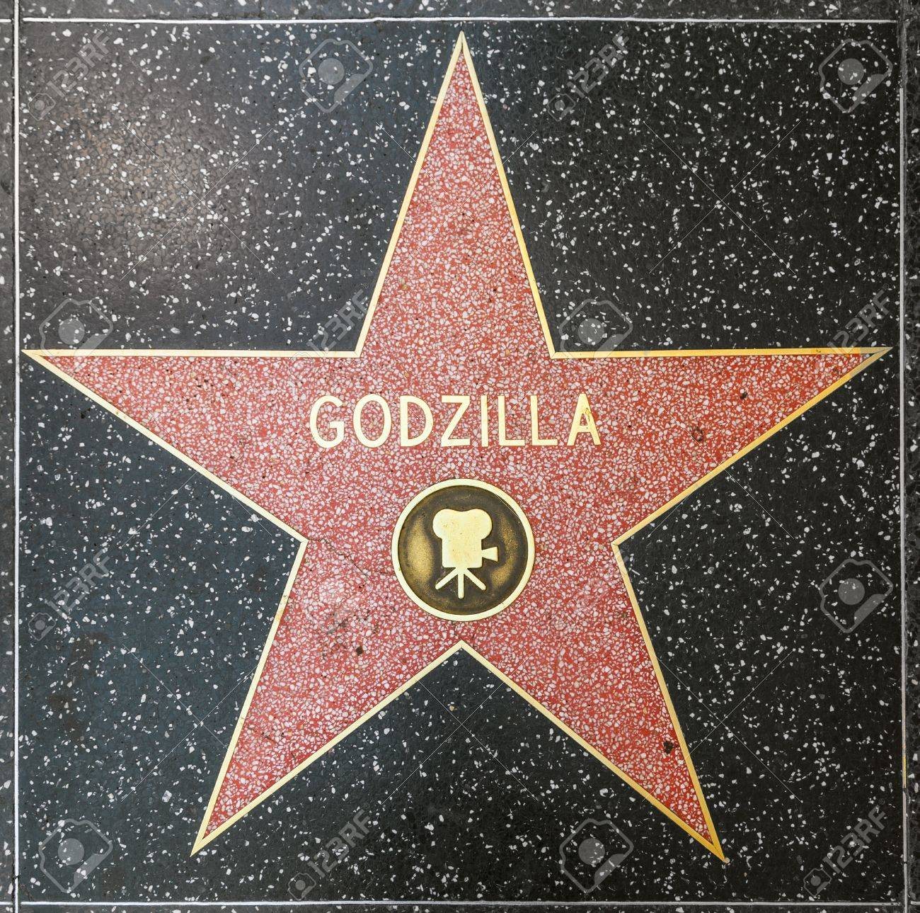 HOLLYWOOD - JUNE 26: Godzillas star on Hollywood Walk of Fame on June 26, 2012 in Hollywood, California. This star is located on Hollywood Blvd. and is one of 2400 celebrity stars. Stock Photo - 14612592