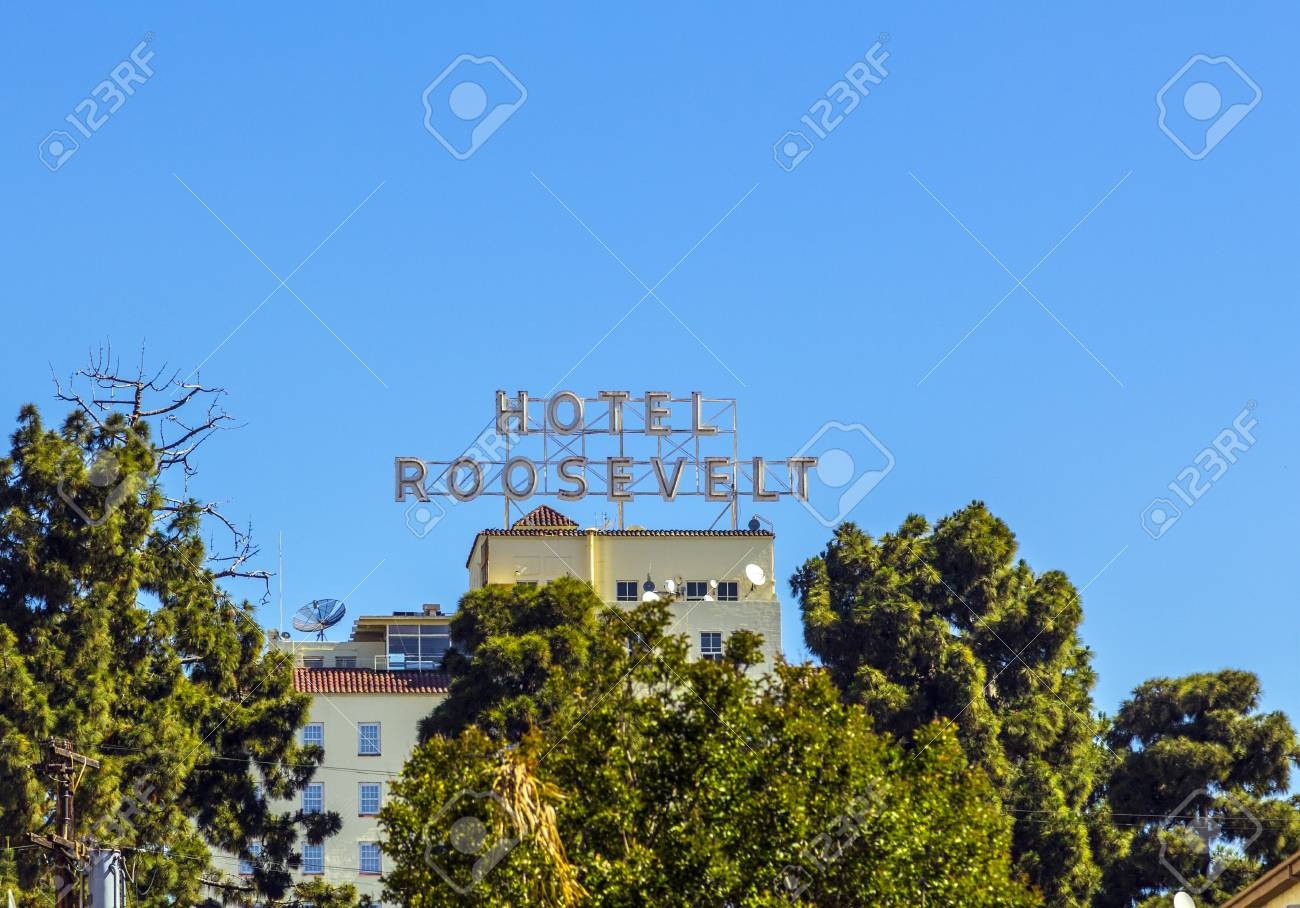 HOLLYWOOD, USA -JUNE 26: facade of famous historic Roosevelt Hotel on June 26,2012 in Hollywood, USA. It  first opened on May 15, 1927. It is now managed by Thompson Hotels. Stock Photo - 14667950