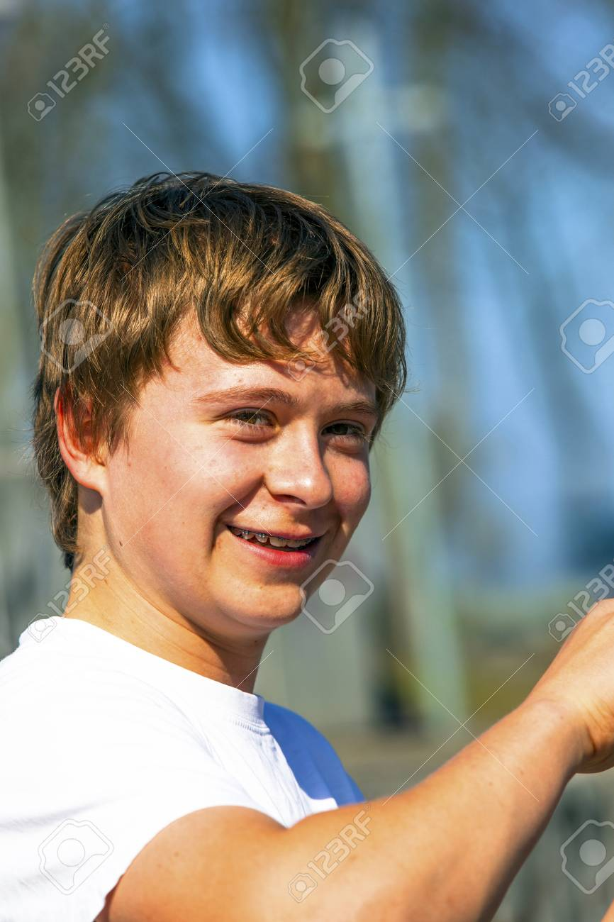 portrait of happy boy in nature Stock Photo - 14759458