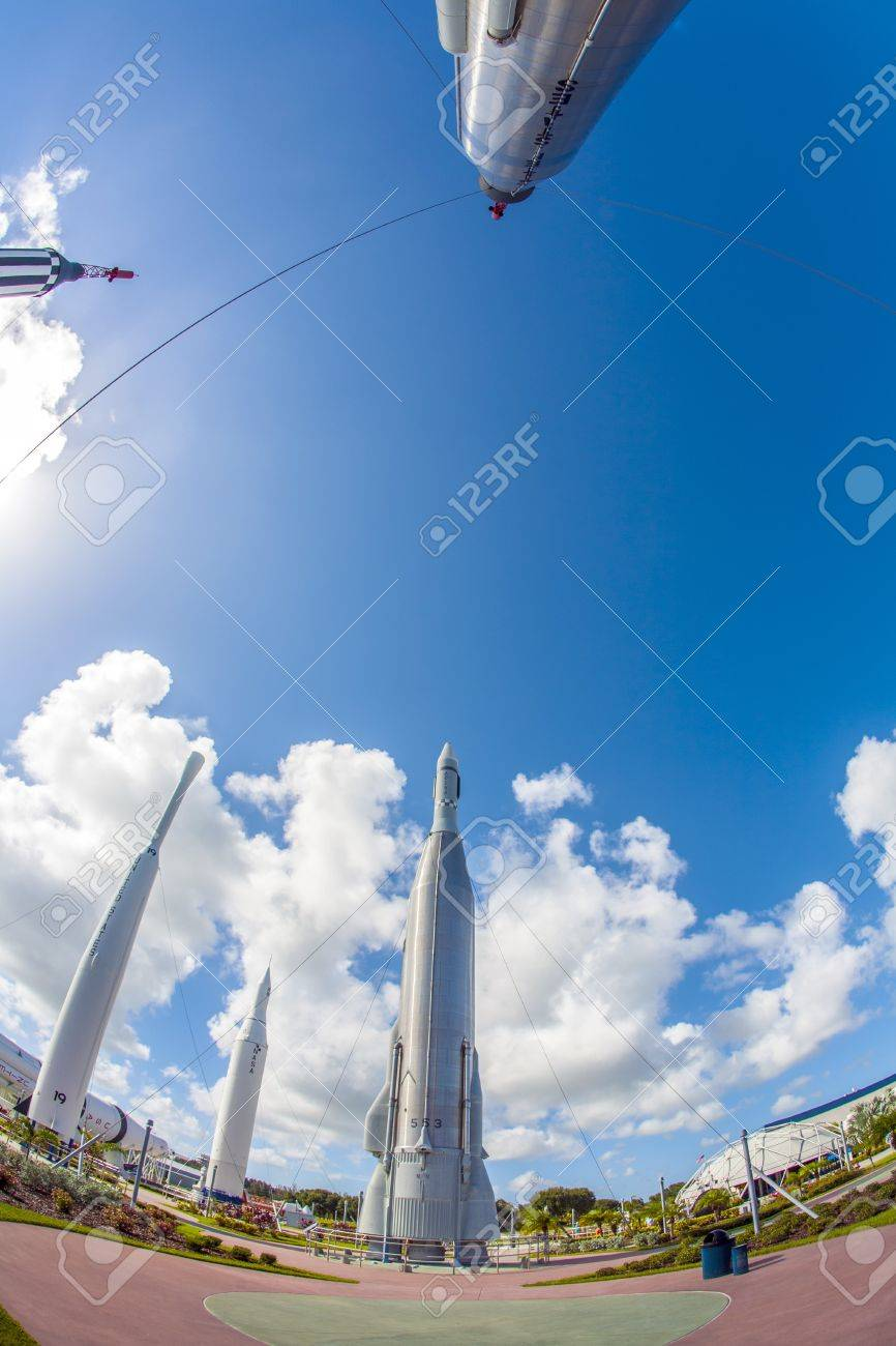 ORLANDO, USA - JULY 25: The Rocket Garden at Kennedy Space Center features 8 authentic rockets from past space explorations on July 25, 2010 in Orlando, USA. Stock Photo - 17069748