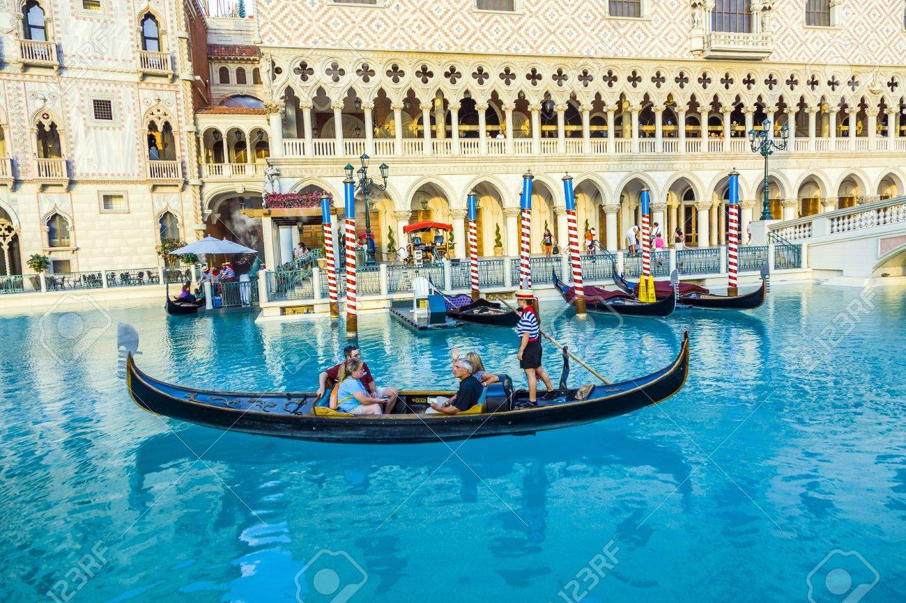 LAS VEGAS, NEVADA - JULY 17: Venice ressort with gondola on July 17, 2008 in Las Vegas, USA. The luxury resort has a five-diamond hotel with 4,049 suites and 4,059 hotel rooms Stock Photo - 17261851