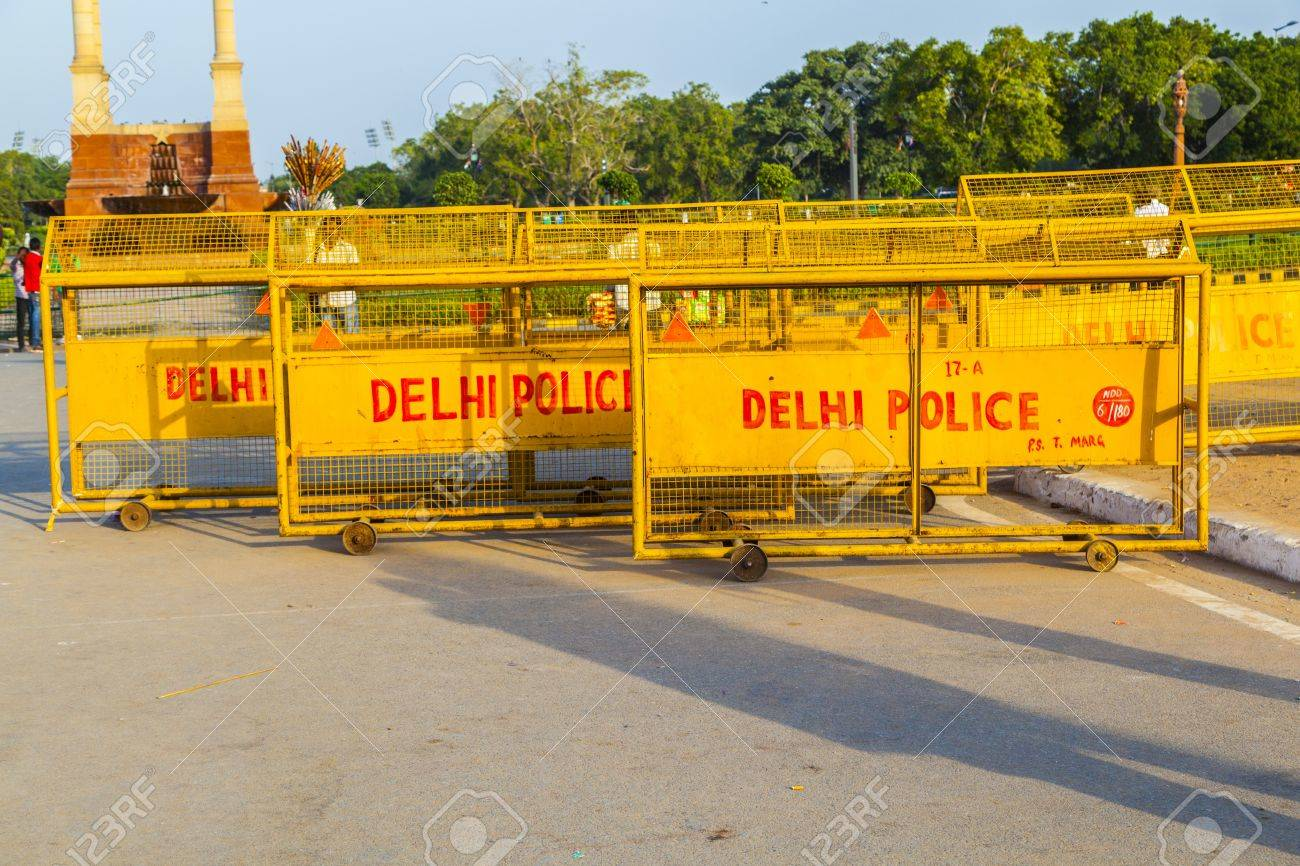 NEW DELHI - OCT 16: barriers at the india gate ready for use