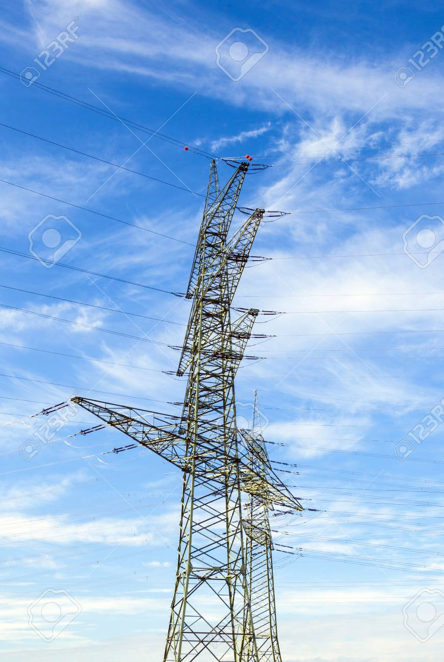 electrical tower in landscape with street Stock Photo - 18458257
