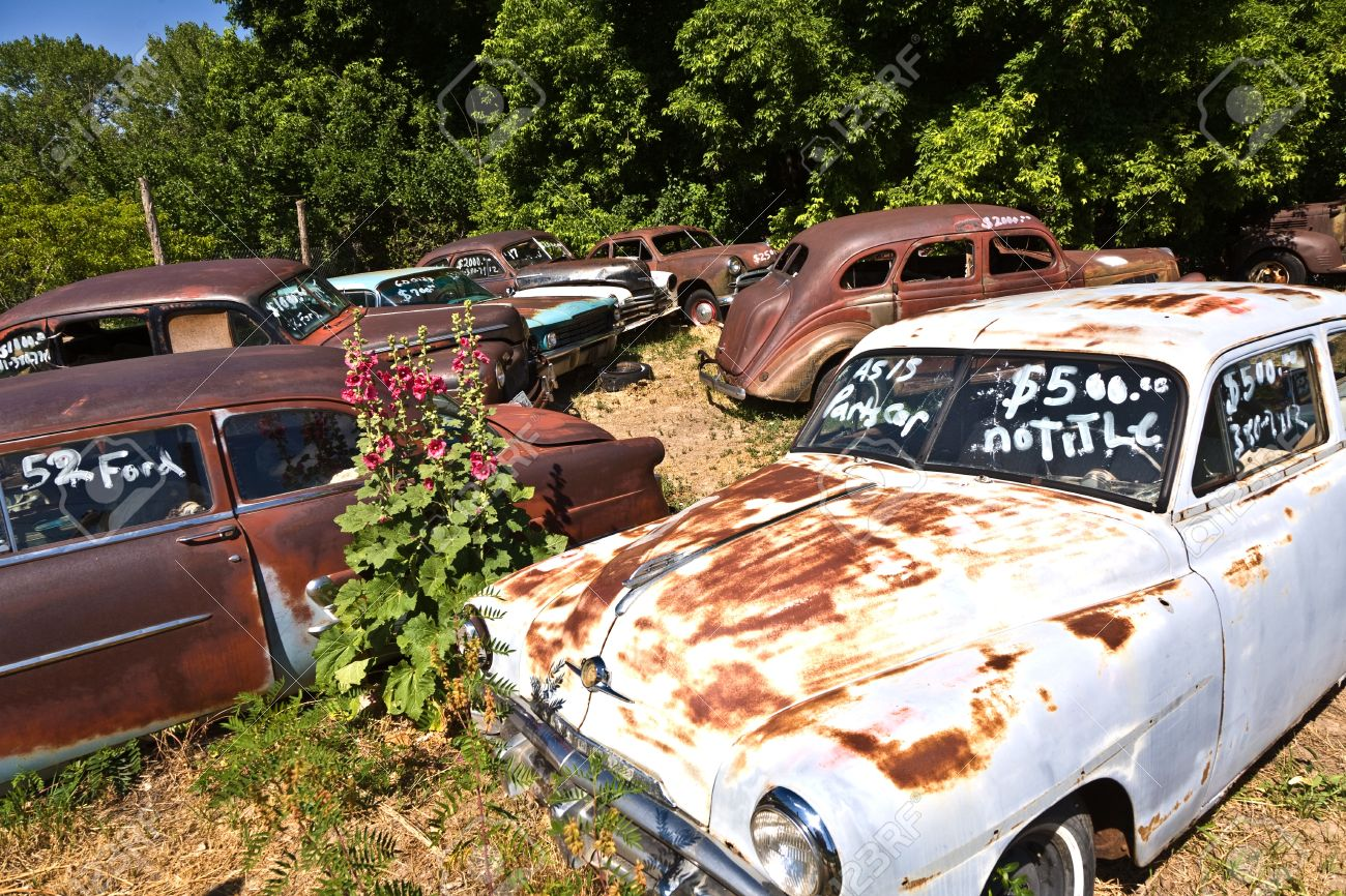 GLENDALE, USA - JULY 17 Junk Yard With Old Rotten Rusty Classic ...