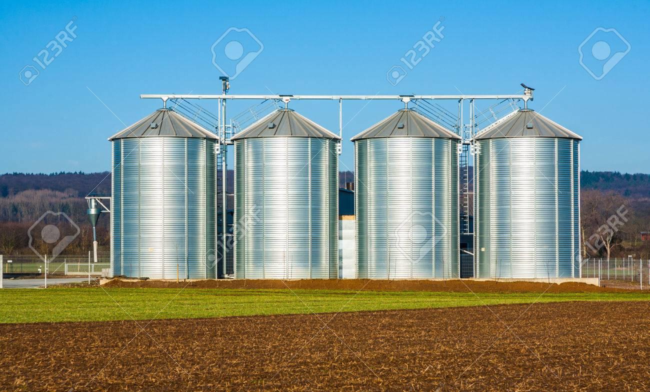 silver silo in rural landscape - 22668721