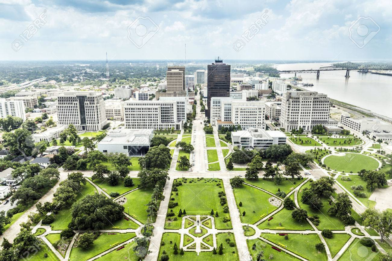 aerial of baton Rouge with Huey Long statue and famous skyline - 24642123