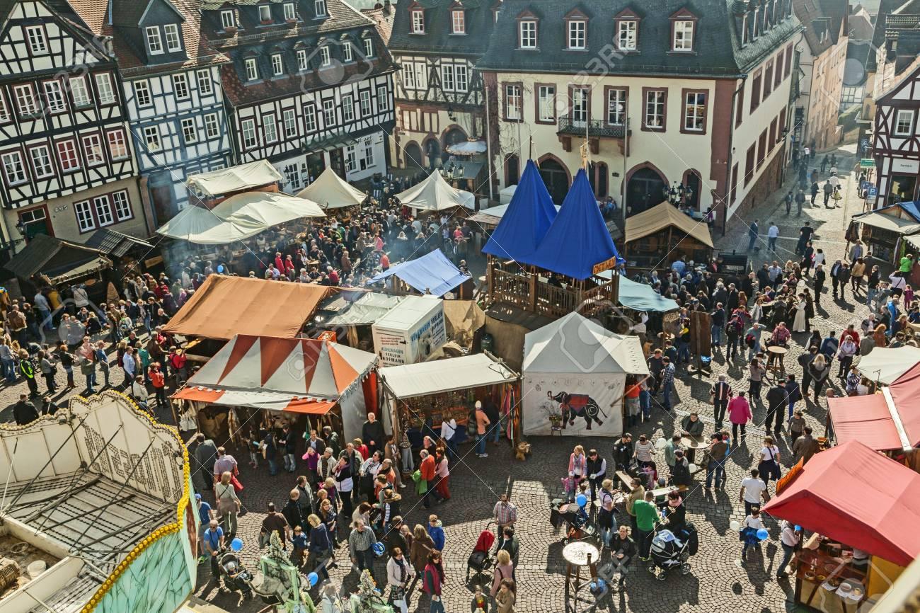 GELNHAUSEN, GERMANY - MARCH 9  people enjoy the 24th Barbarossamarkt