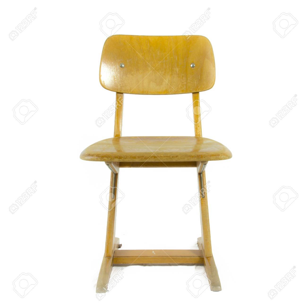 old german used wooden school chair for the young pupils stock photo