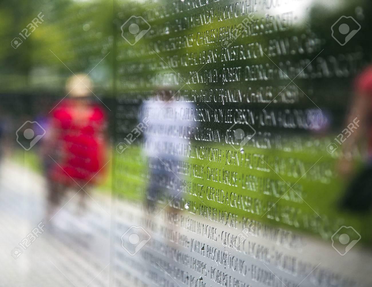 WASH DC -JULY 14: Names of Vietnam war casualties on Vietnam