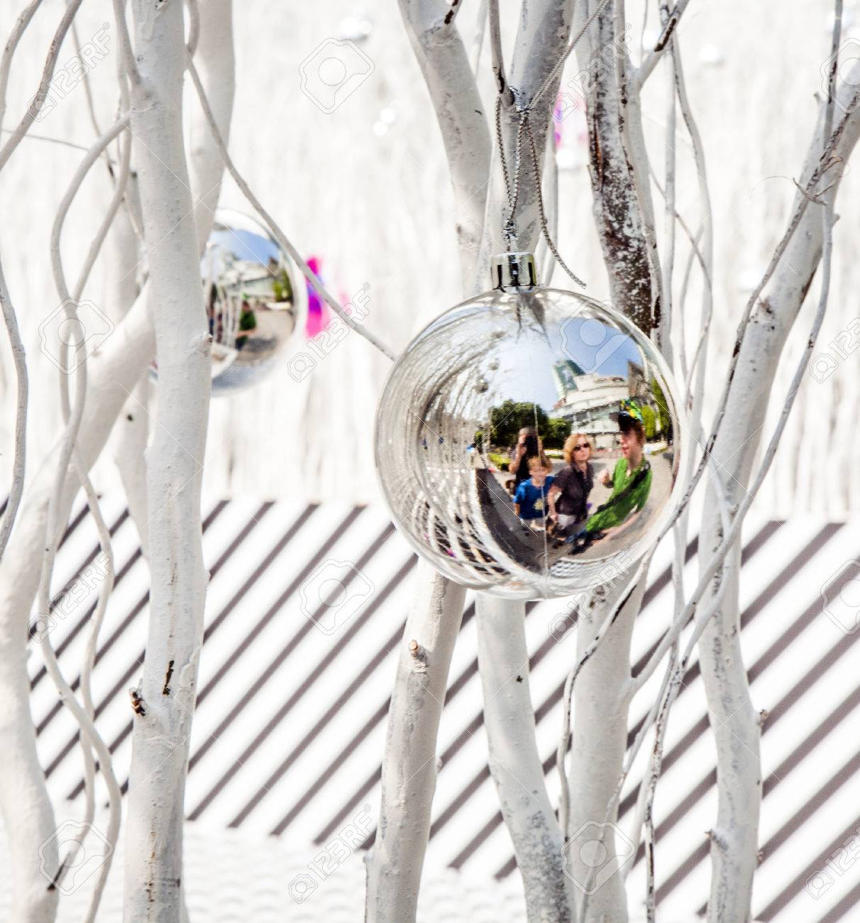 White Painted Branches Give A Harmonic Background With Chrismas Stock Photo Picture And Royalty Free Image Image 29826580