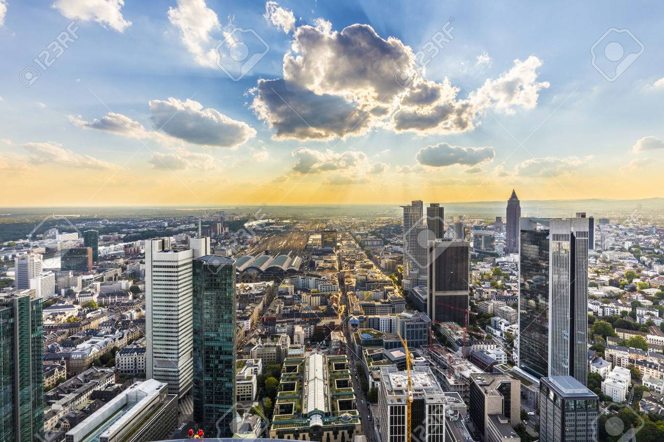 view to skyline of Frankfurt from platform at Maintower - 45042277