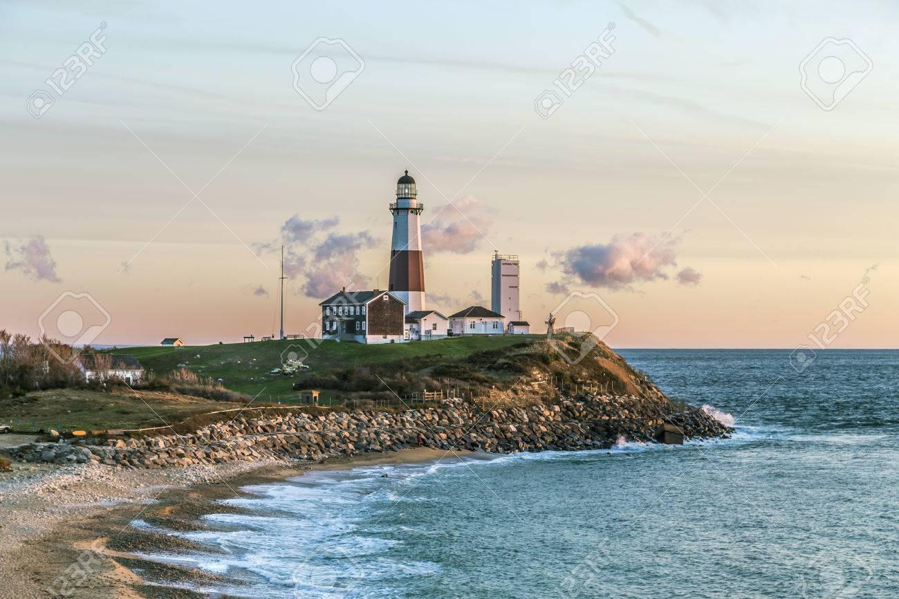 Atlantic ocean waves on the beach at Montauk Point Light, Lighthouse, Long Island, New York, Suffolk County - 47702195