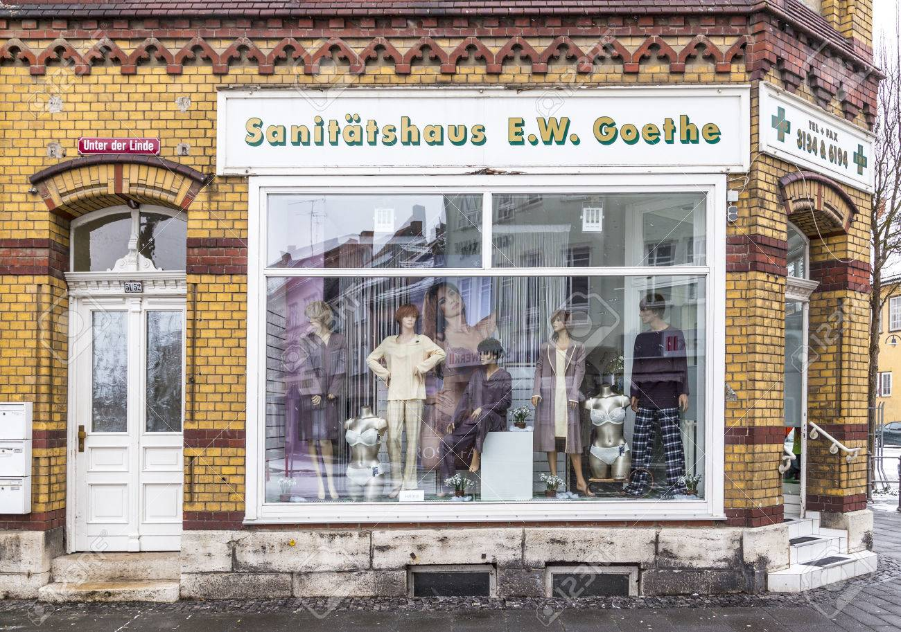MUEHLHAUSEN, GERMANY - JAN 17, 2016: old shop window of a medical