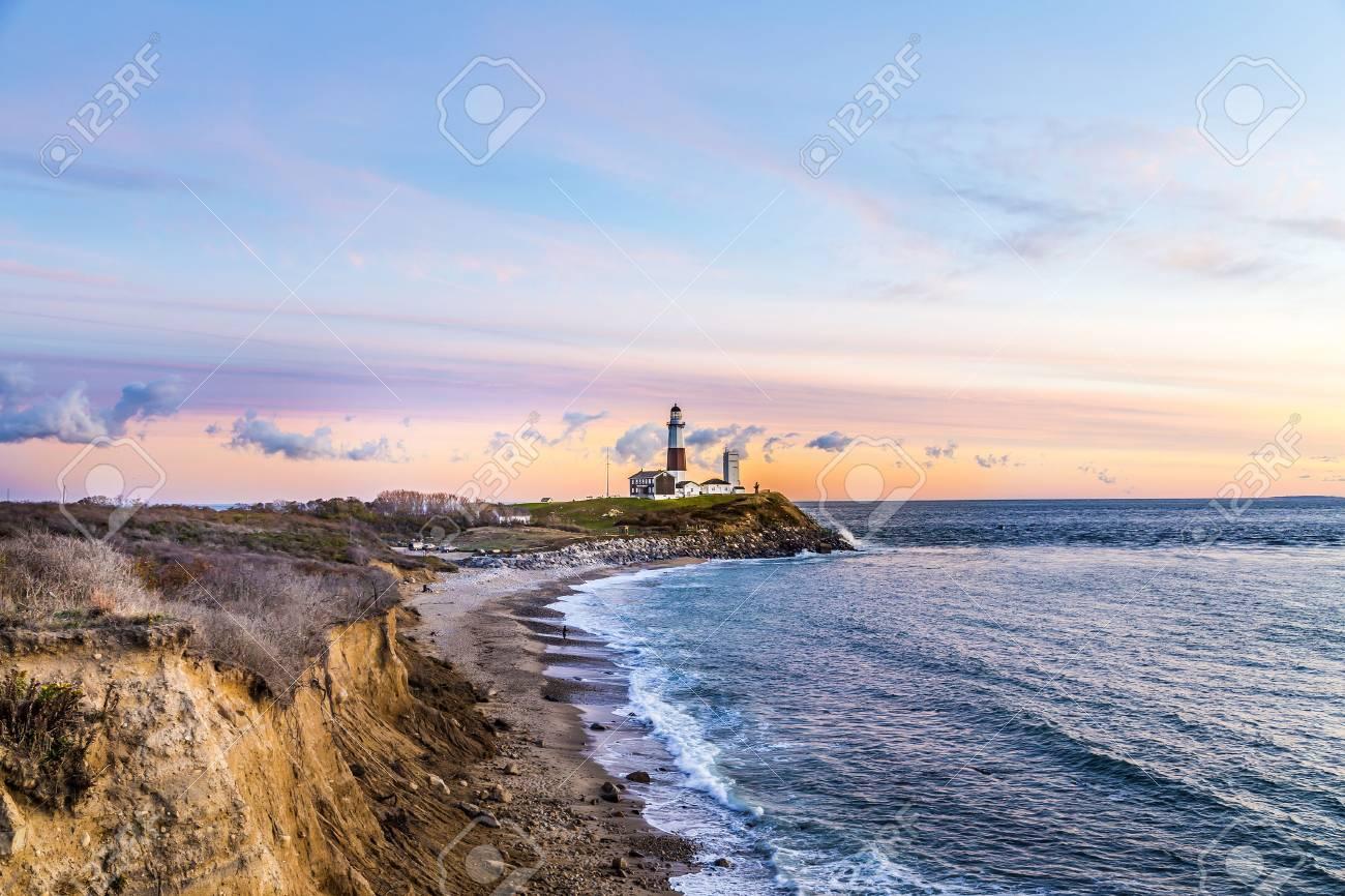 Atlantic ocean waves on the beach at Montauk Point Light, Lighthouse, Long Island, New York, Suffolk County - 55042690