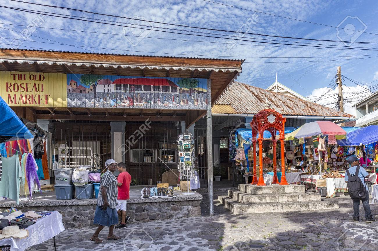 roseau dominica apr 27 2016 people visit the old roseau stock
