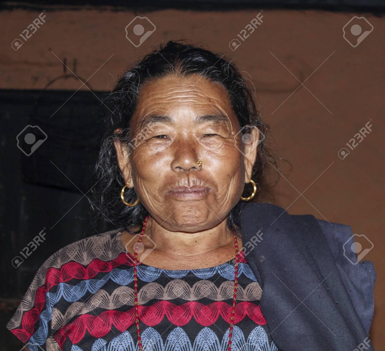 Jomson Nepal Oct 13 2013 Portrait Of Old Nepalese Woman