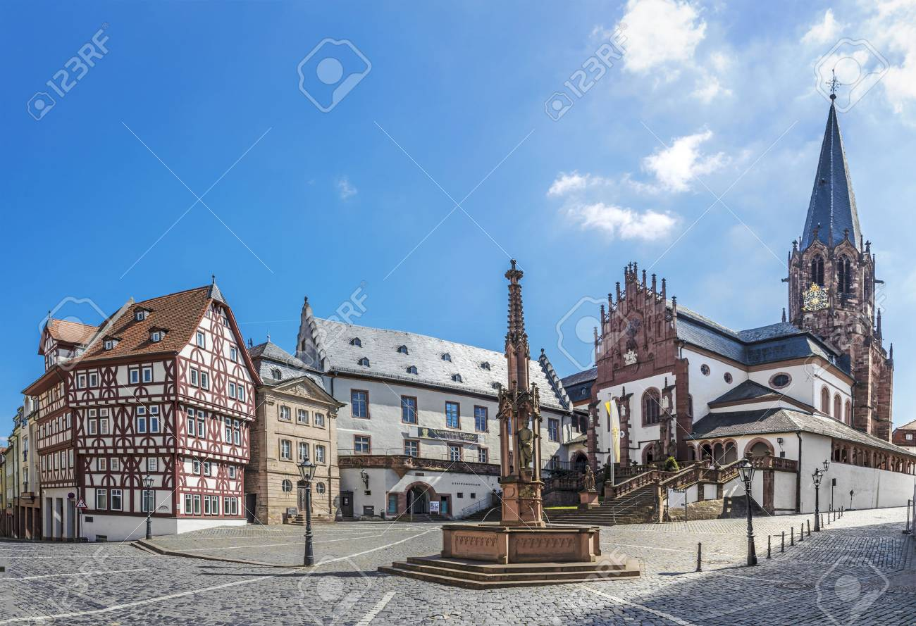 famous old Stifts Basilika in Aschaffenburg, Bavaria, Germany at Stiftskirchenplatz - 76997786