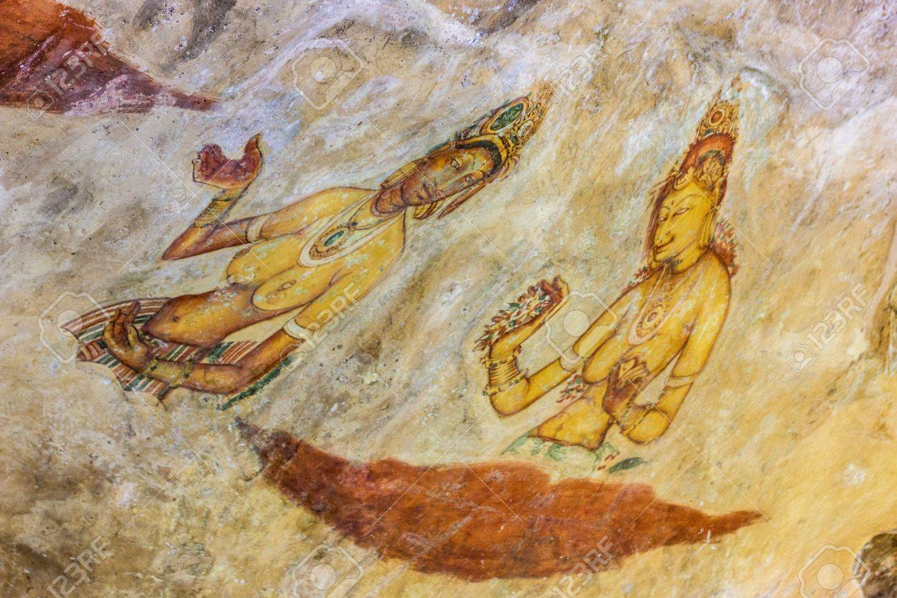 Ancient Famous Wall Paintings frescoes At Sigirya In Sri Lanka