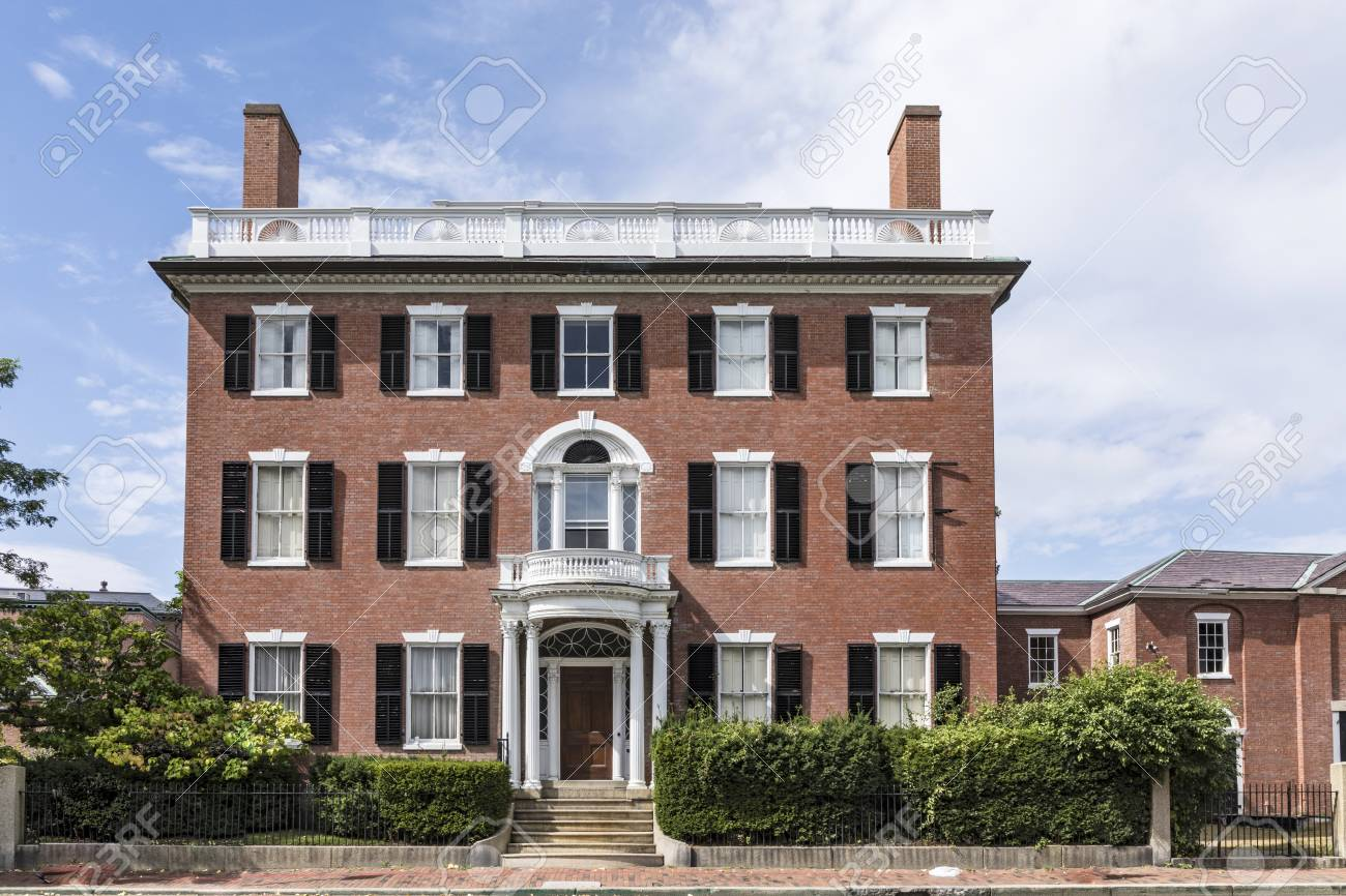 Facade Of Old Victorian Style Brick House In Salem Typical New England Stock Photo