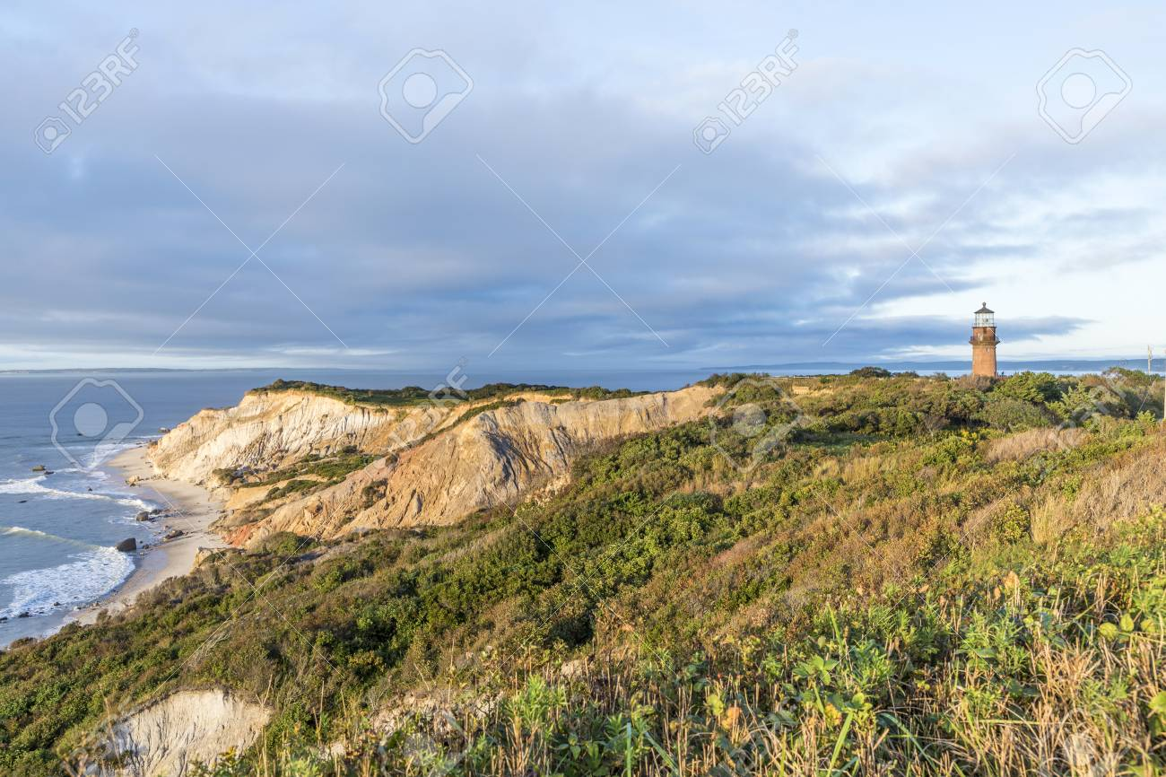 Gay Head Lighthouse and Gay Head cliffs of clay at the westernmost point of Martha's Vineyard in Aquinnah, Massachusetts, USA. This historic lighthouse was built in 1856. - 90750198