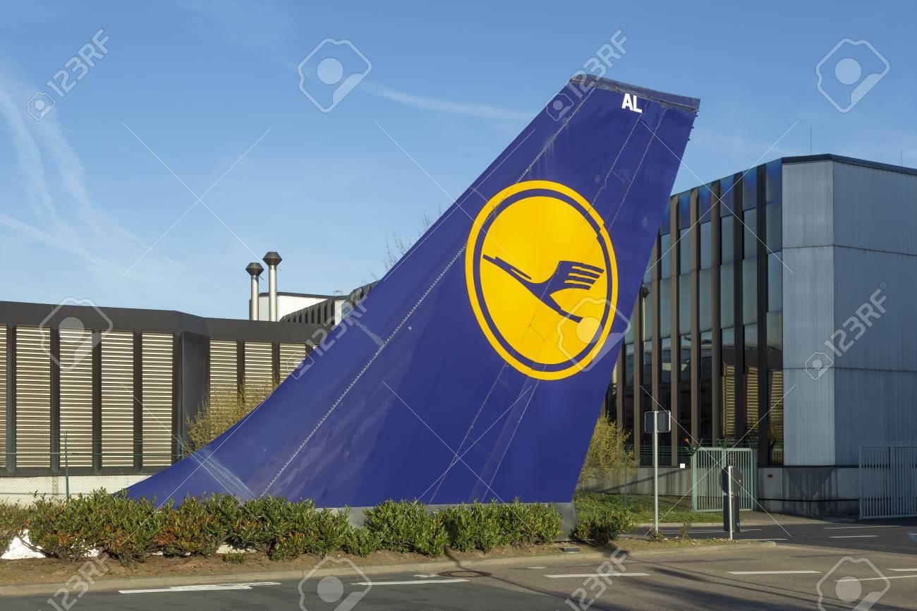 FRANKFURT, GERMANY - MAR 20, 2014: vertical tail sign installed at Tor 21 at Lufthansa headquarter in Frankfurt, Germany. - 116936306