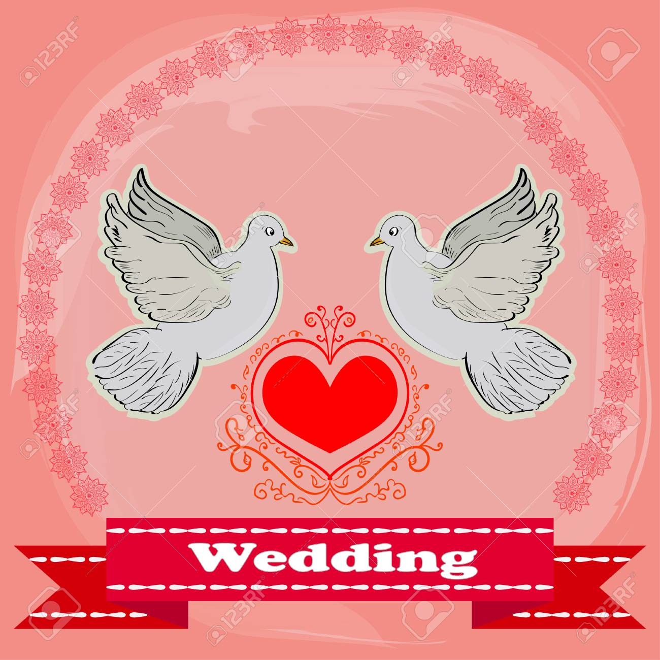 The Invitation To The Wedding. Wedding Card With Two Doves. Floral ...