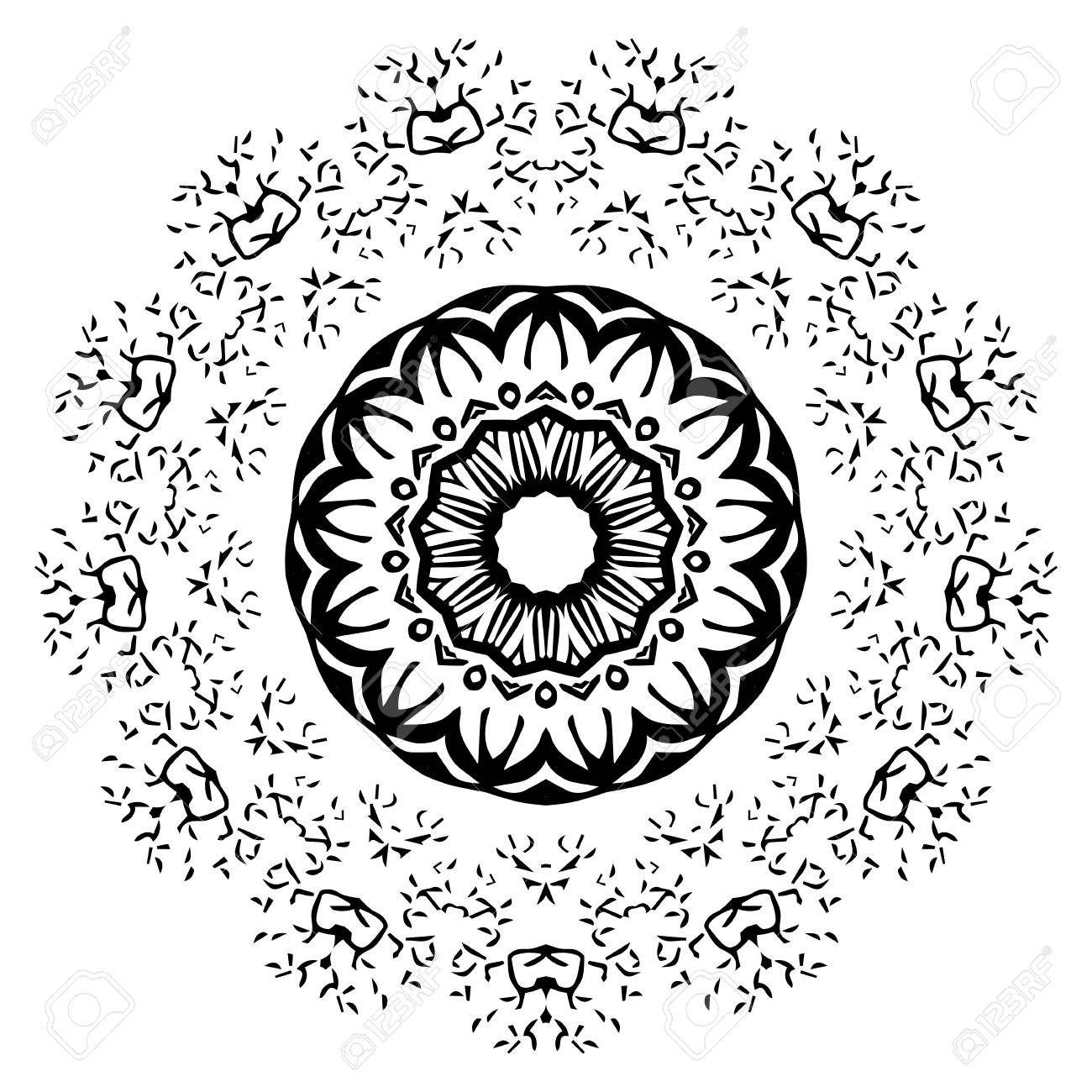 Black and white abstract pattern mandala vector design template for art banque d