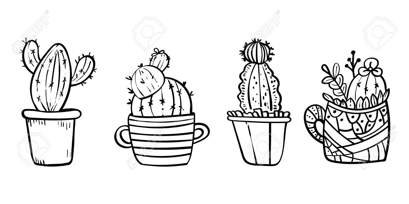 Cacti Blooming With Spikes Coloring Page For Children And Adults Royalty Free Cliparts Vectors And Stock Illustration Image 130096596