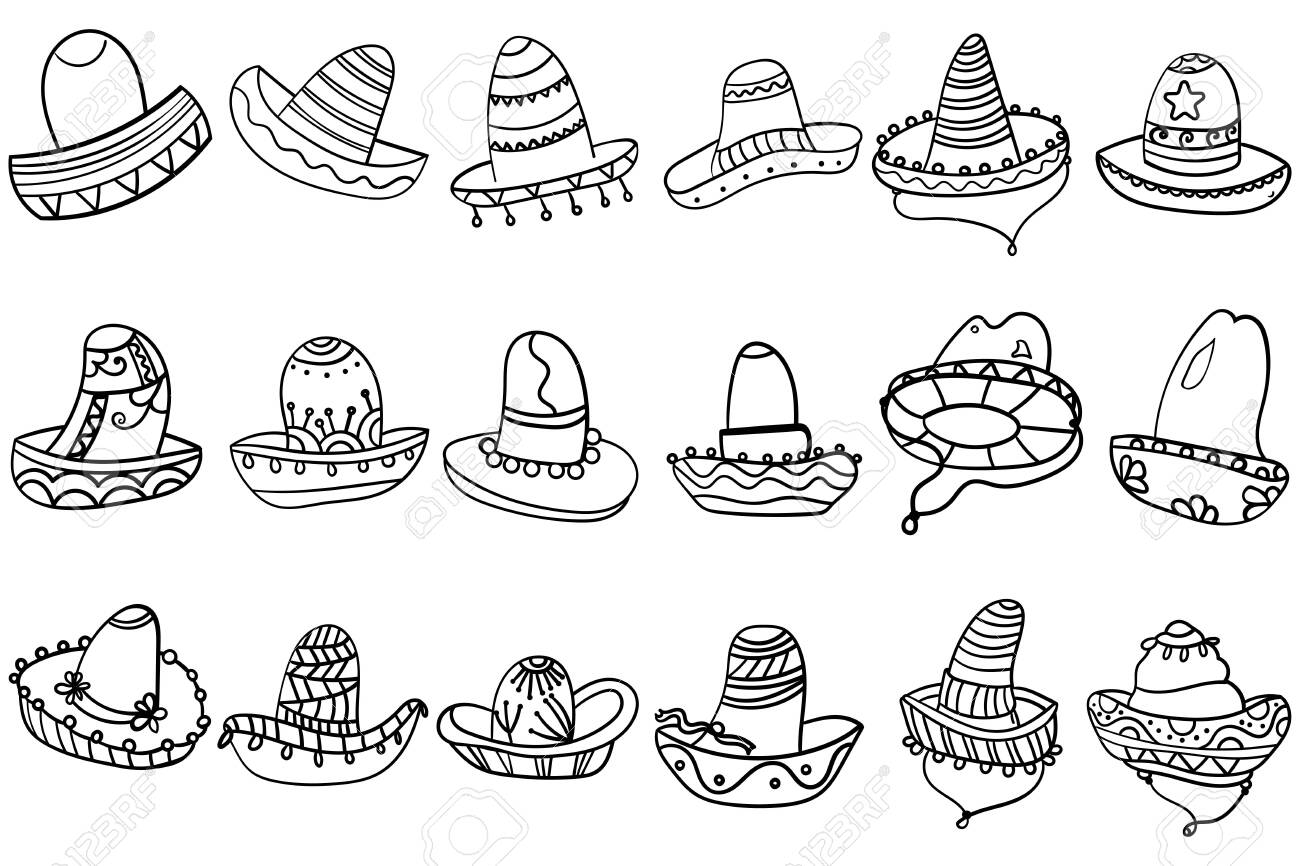 Set coloring page or book of doodle mexican hats sombrero. The..