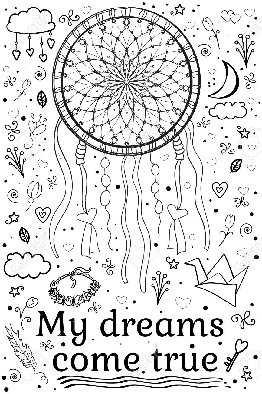 - Woman Coloring Book Or Page, Line. Ethnic Boho Set Dream Catcher