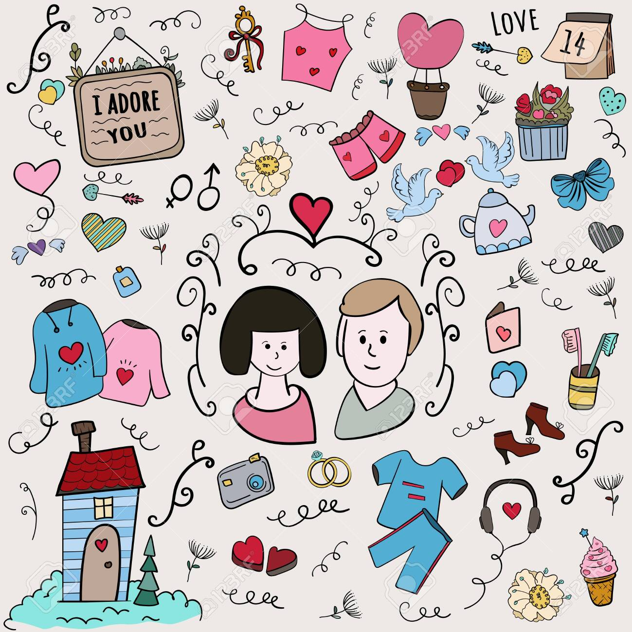 Scrap Set Color Illustration A Love Story Set Vector Doodle Royalty Free Cliparts Vectors And Stock Illustration Image 137723188