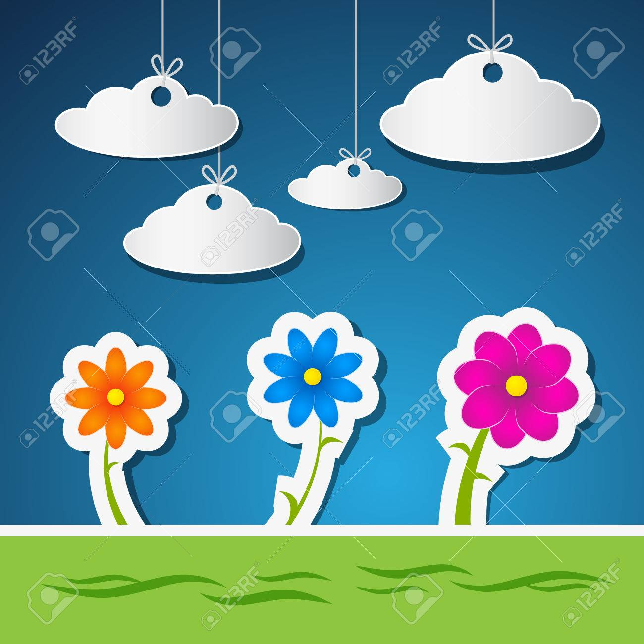 Flowers and Clouds Made From Paper With Blue Sky and Green Grass Stock Vector - 24603763