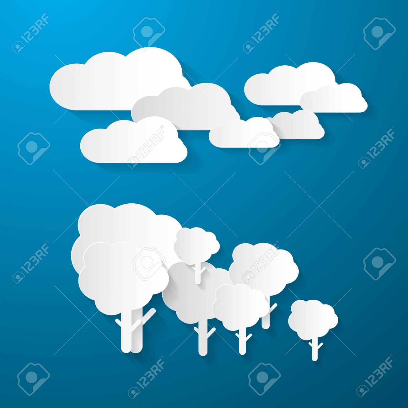 Paper Clouds and Trees on Blue Background Stock Vector - 24754378