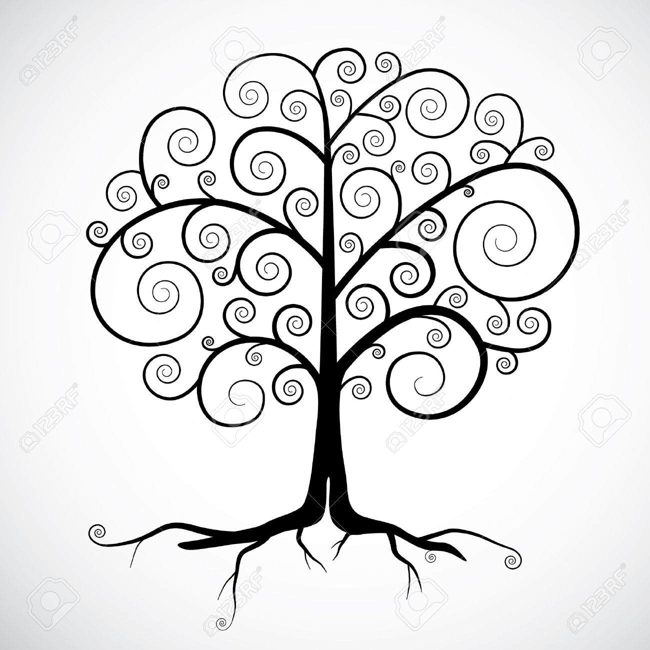 Abstract Vector Black Tree Illustration Isolated on Light Grey Background Stock Vector - 25305406
