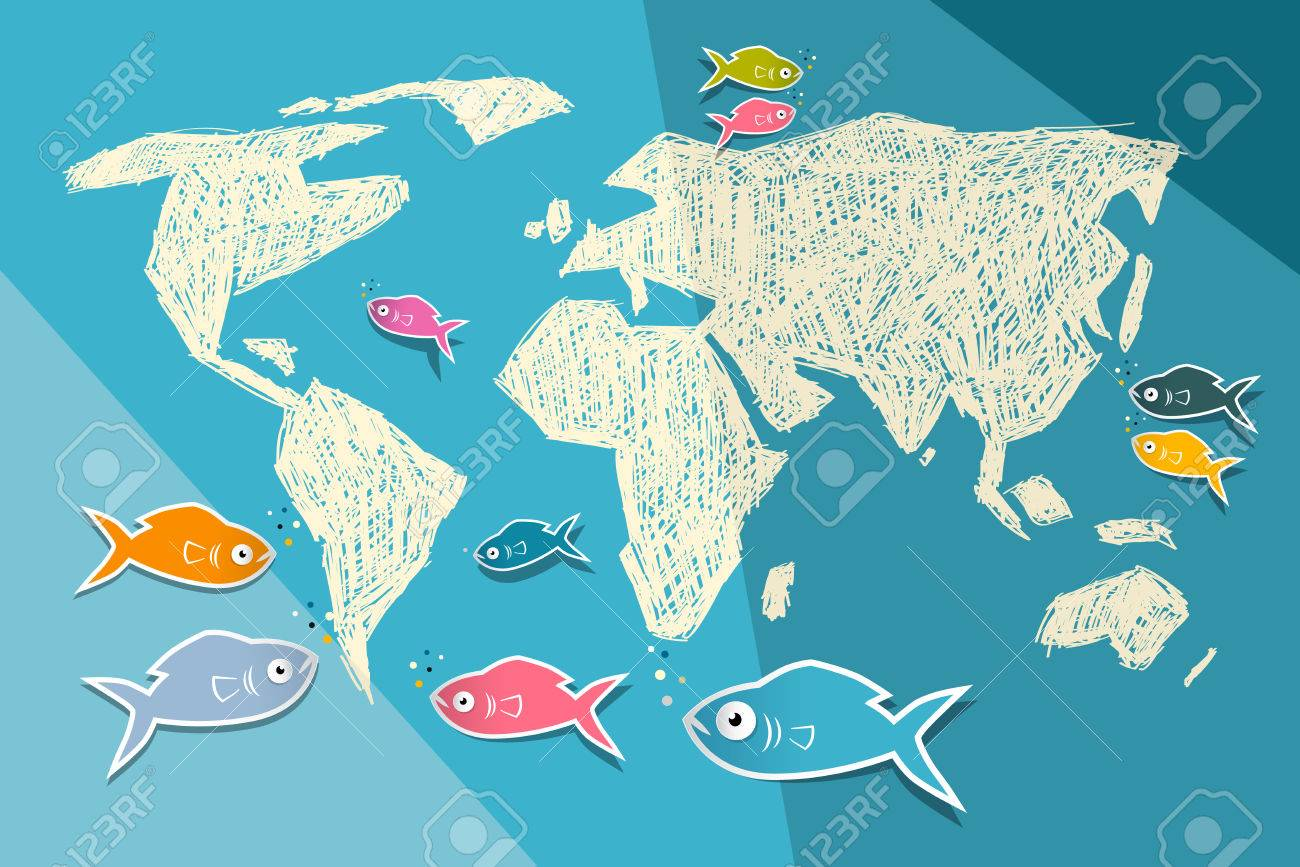 World map illustration on blue paper background with origami vector world map illustration on blue paper background with origami fish gumiabroncs Gallery