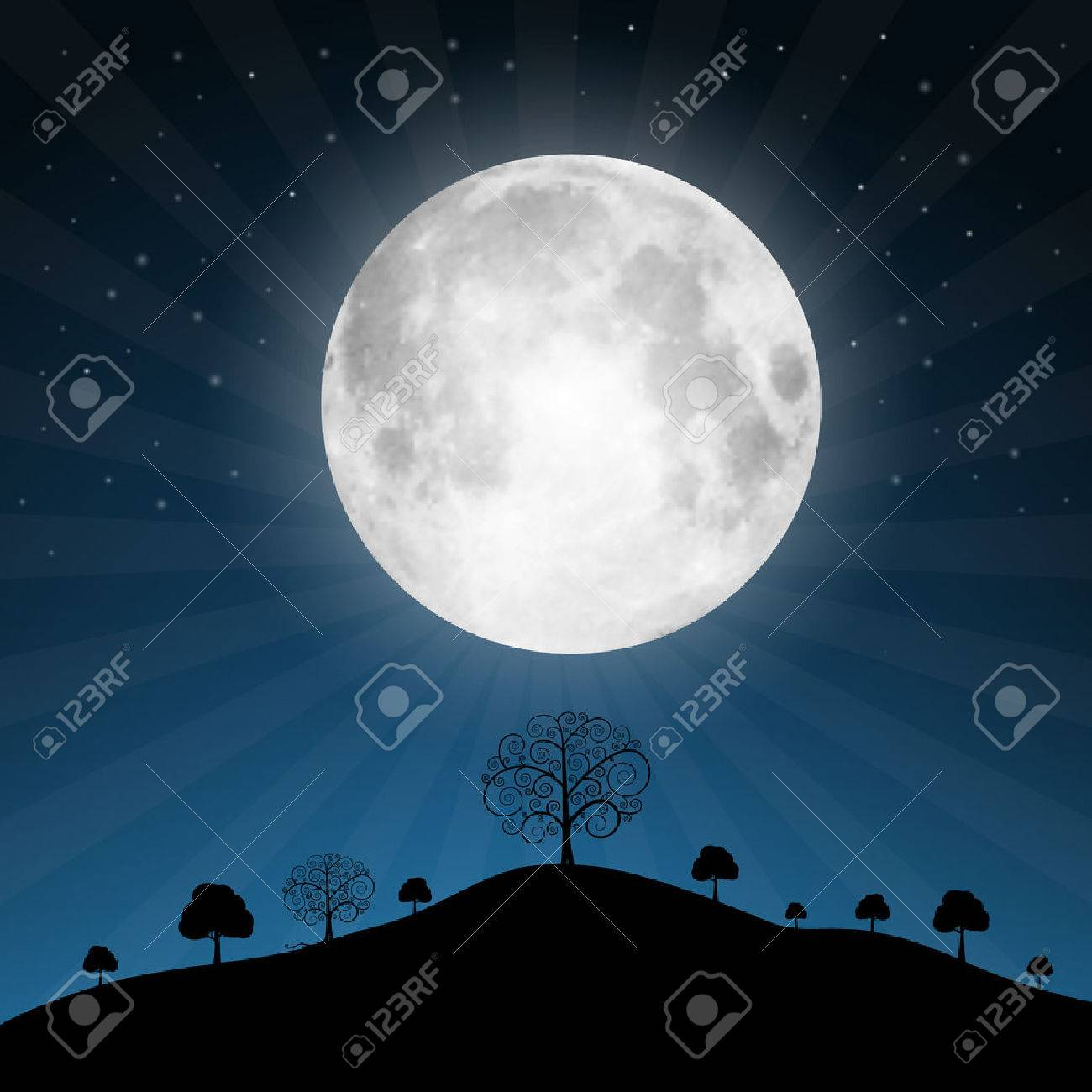 Vector Full Moon Illustration with Stars and Trees - 26974962