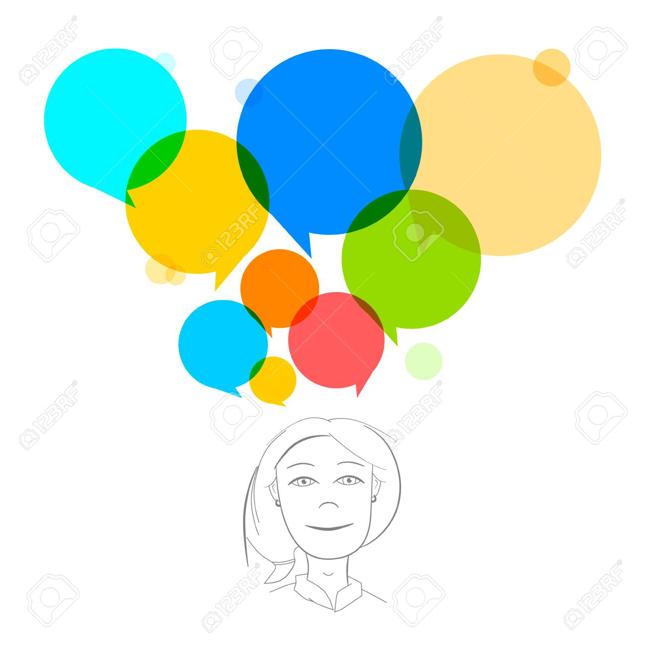 Vector Business Woman Illustration with Colorful Speech Bubbles Stock Vector - 27656561