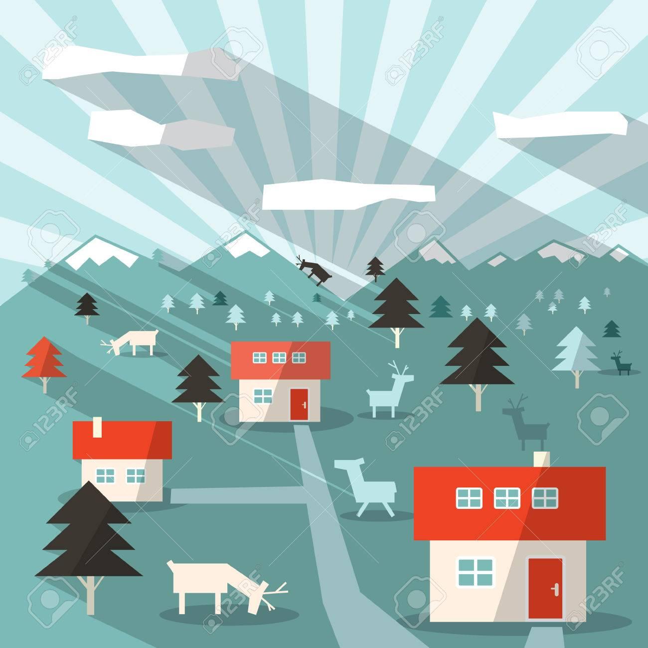 Resumen Vector Piso Diseño Paisaje Long Shadow Ilustración Con Casas ...