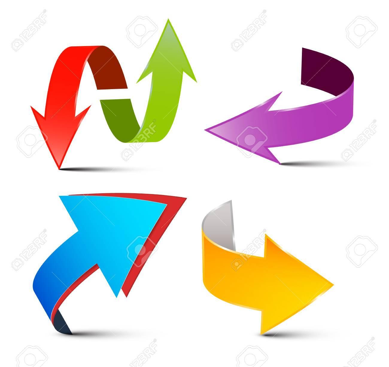 Jeu De Fleches De Vecteur Fleches 3d Colorees Logo Fleche Symboles Isoles Sur Fond Blanc Clip Art Libres De Droits Vecteurs Et Illustration Image 61922800