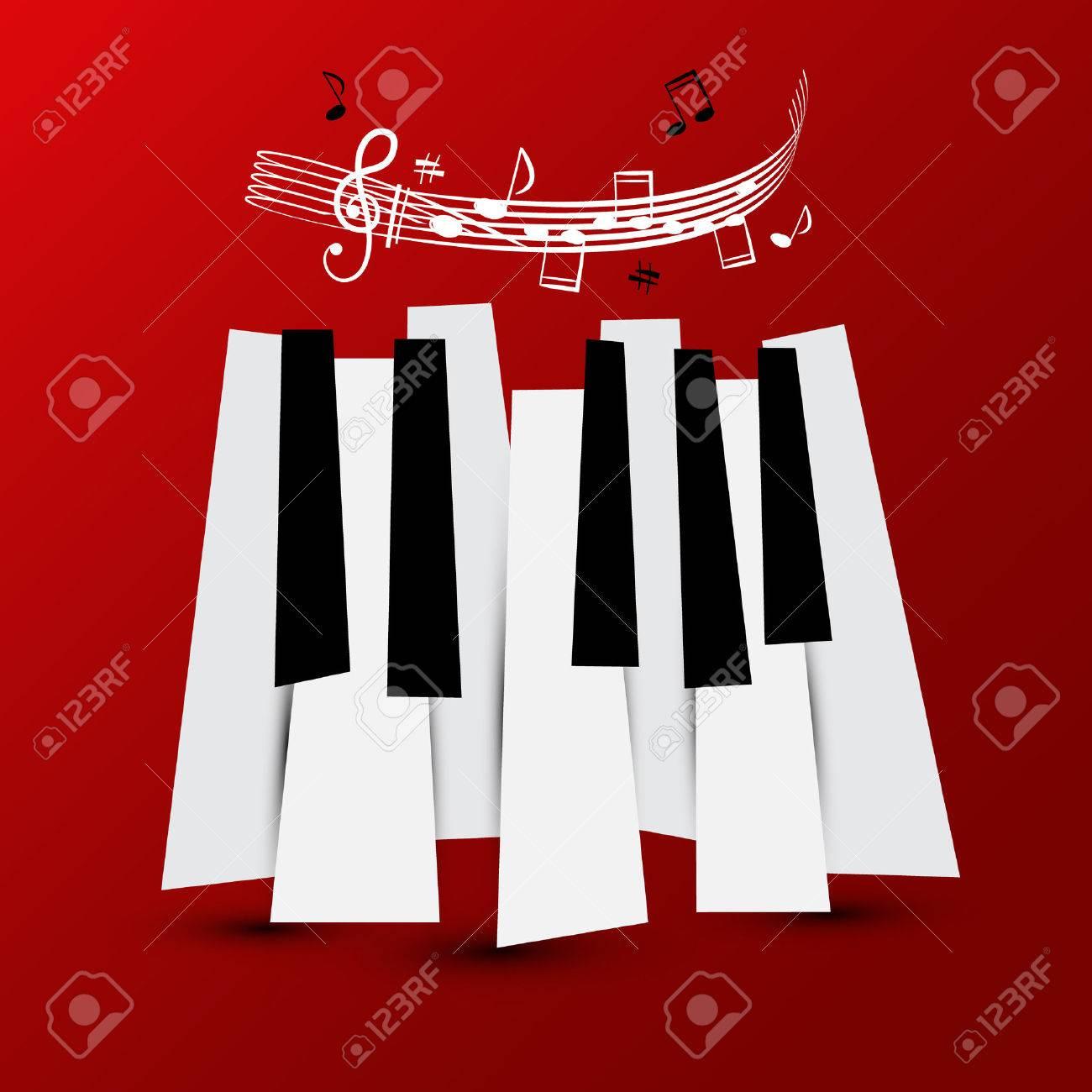 Símbolo De La Música Vector Teclas De Piano Con Personal Y Notas
