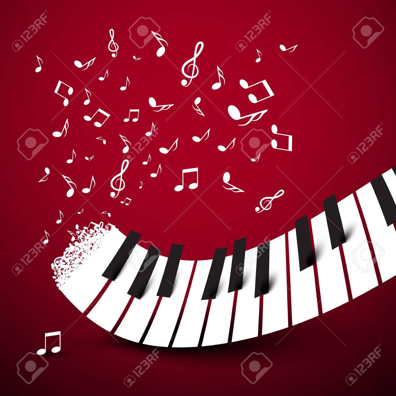 Teclas Del Piano Teclado Con Notas Símbolo De Música Ilustración