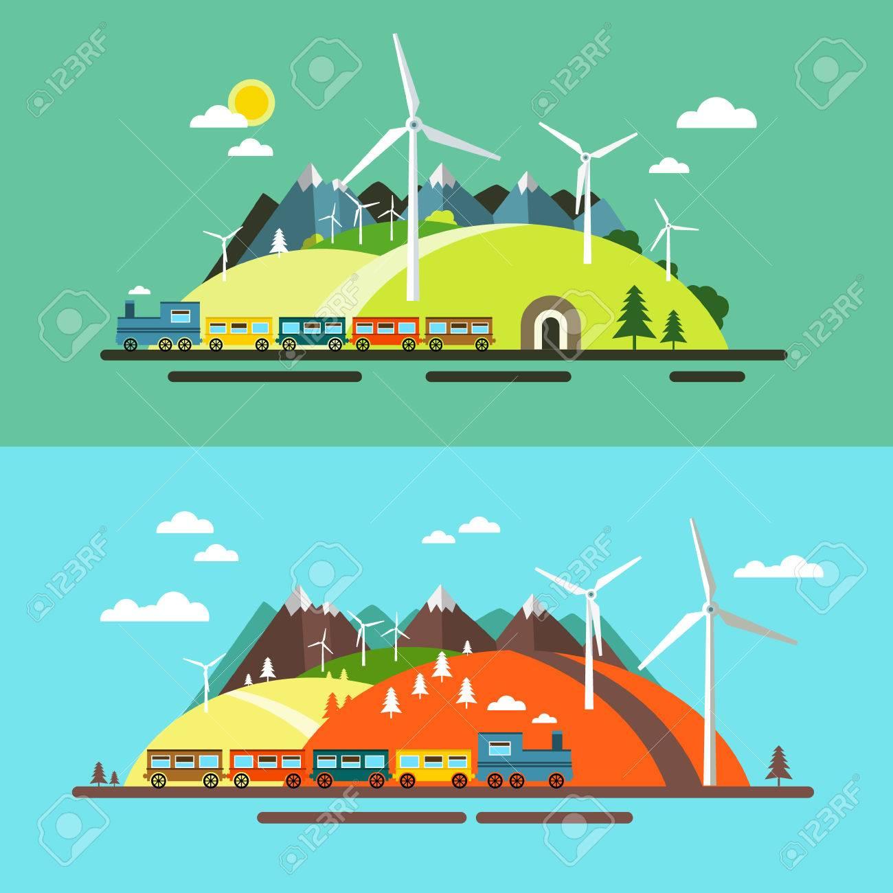 Paisaje Con El Tren. Resumen Plana Diseño Escena De La Naturaleza ...